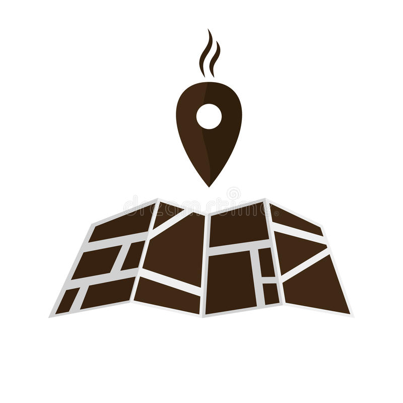 Dirigez l'icône de carte avec du café Pin Pointer d'isolement sur le blanc illustration de vecteur