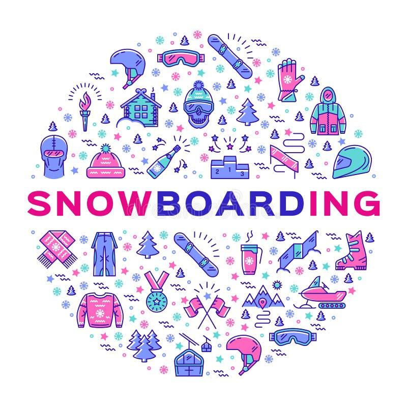 Dirigez l'icône de snowboarding, l'infographics de surf des neiges, les vêtements de sports d'hiver et l'équipement illustration de vecteur