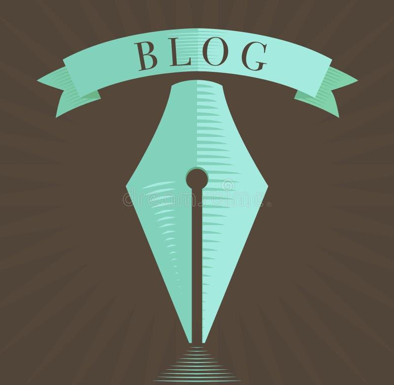 Dirigez l'icône de stylo-plume, symbole de blog dans le style gravé illustration stock