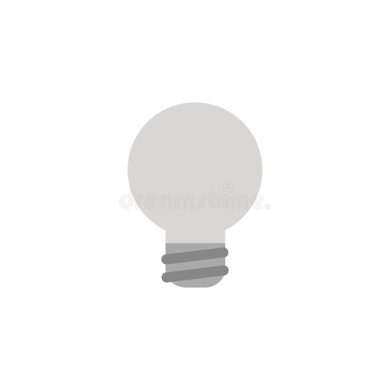 Dirigez l'icône grise d'ampoule sur le blanc avec le style plat de conception illustration de vecteur