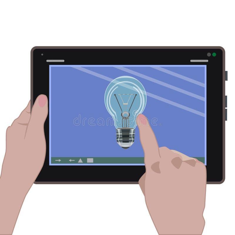 Dirigez l'icône numérique d'idée de comprimé dans le style plat illustration de vecteur