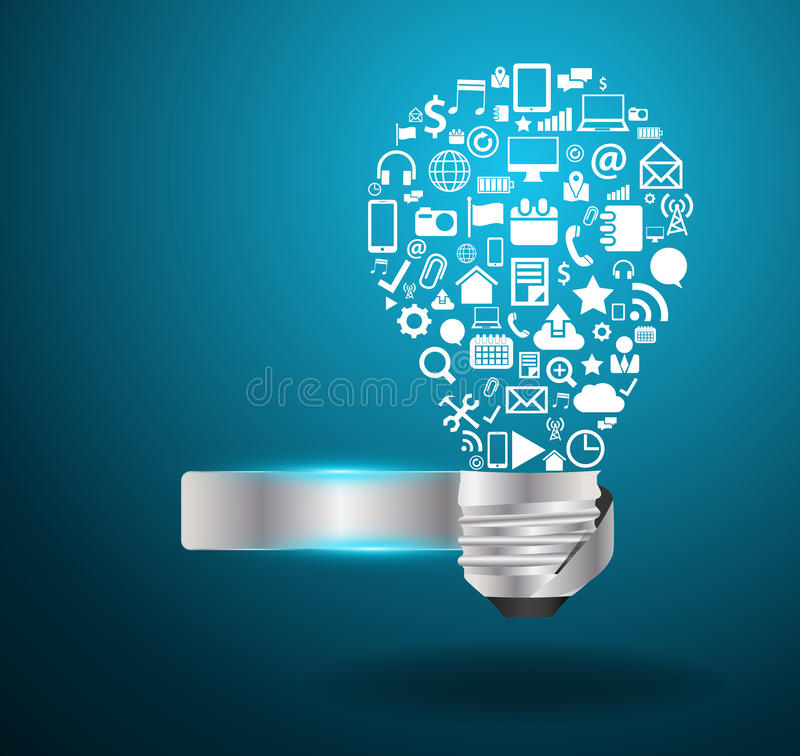 Dirigez l'idée d'ampoule avec l'applicati social de media illustration stock