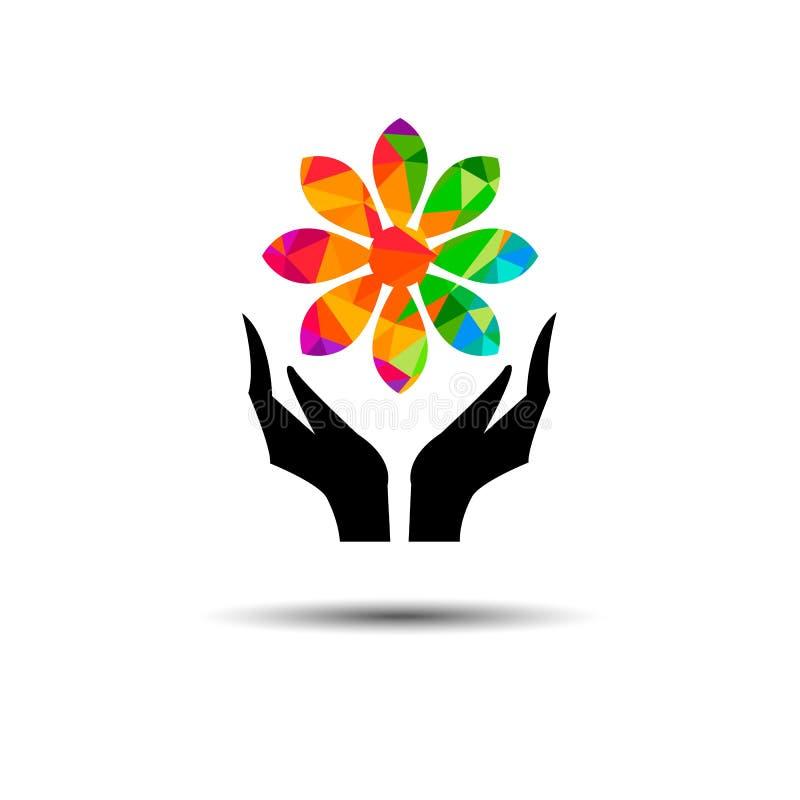Dirigez l'illustratio moderne graphique de célébration de doigt de main de fleur illustration stock