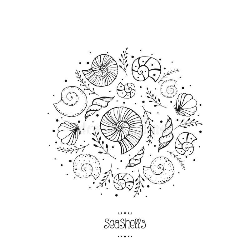 Dirigez l'illustration avec des ammonites et des coquilles de mer dans le style de croquis illustration de vecteur