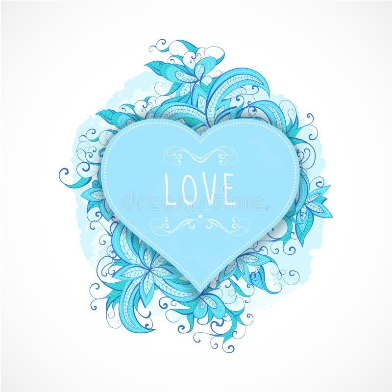 Dirigez l'illustration avec des cadres dans la forme de coeur, les éléments floraux et d'aquarelle et l'inscription tirée par la  illustration de vecteur