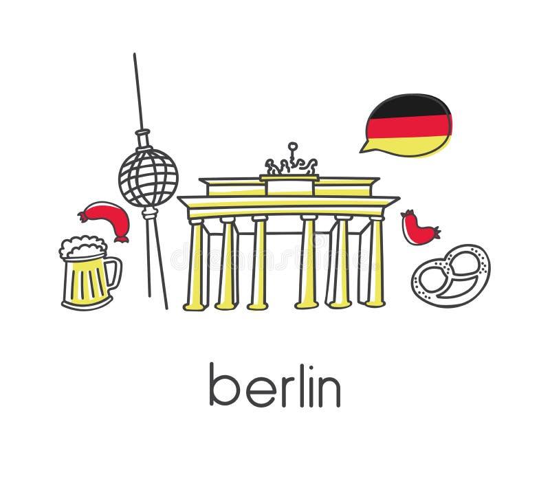 Dirigez l'illustration avec des symboles allemands célèbres à Berlin illustration de vecteur