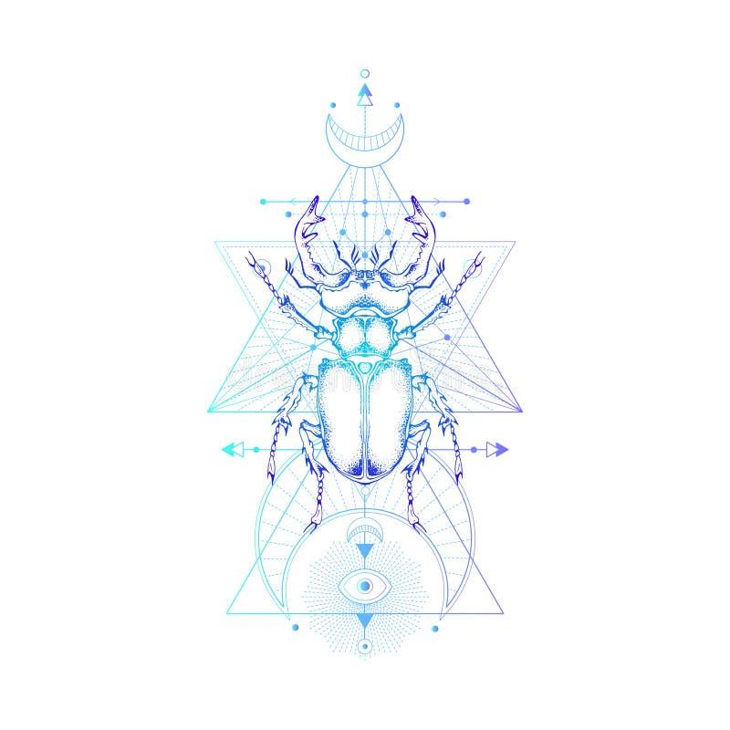 Dirigez l'illustration avec l'insecte tiré par la main et le symbole géométrique sacré sur le fond blanc Signe mystique abstrait illustration de vecteur