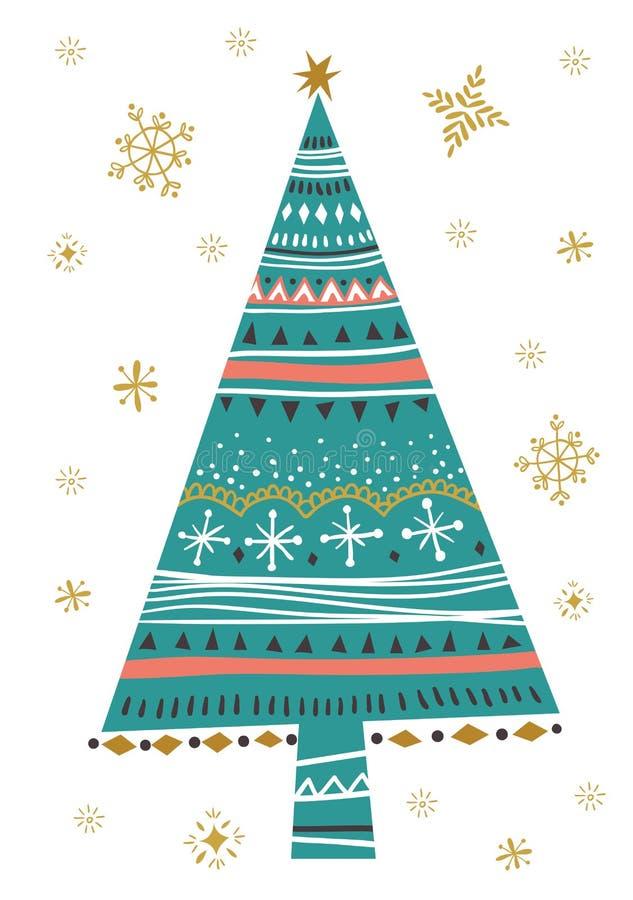 Dirigez l'illustration avec l'affiche d'isolement d'arbre de sapin de Noël illustration stock
