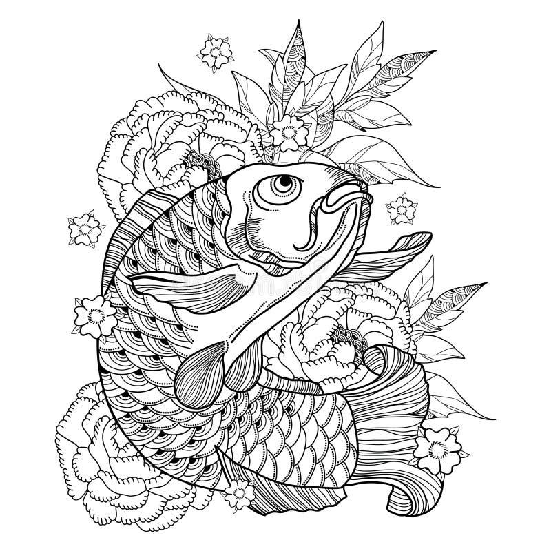 Dirigez l'illustration avec la carpe et le chrysanthème tirés par la main de koi d'ensemble ou le dahlia dans le noir d'isolement illustration libre de droits