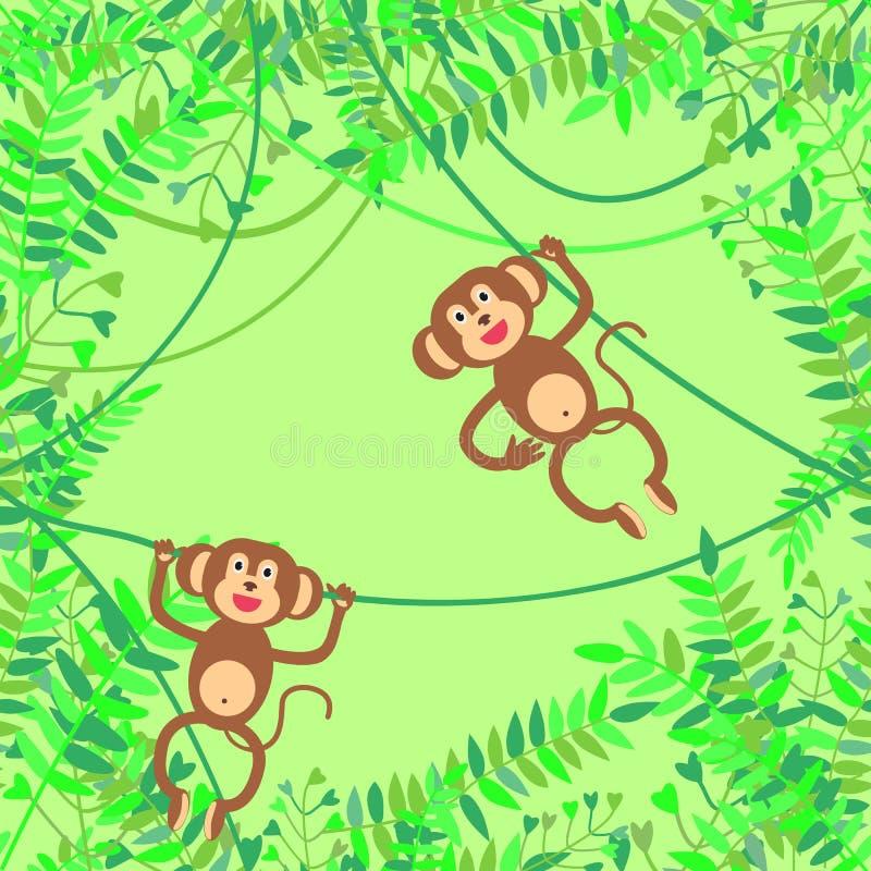 Dirigez l'illustration avec la jungle, les branches et les singes de sourire accrochant sur des lians sur le fond vert illustration libre de droits
