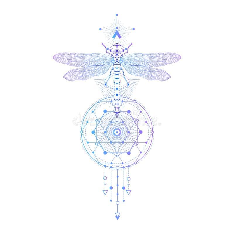 Dirigez l'illustration avec la libellule tirée par la main et le symbole géométrique sacré sur le fond blanc Signe mystique abstr illustration de vecteur