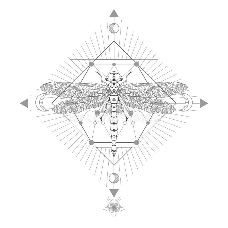 Dirigez l'illustration avec la libellule tirée par la main et le symbole géométrique sacré sur le fond blanc Signe mystique abstr illustration libre de droits