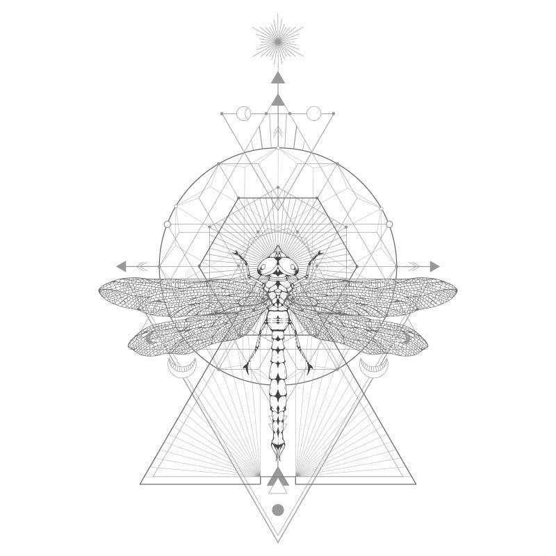 Dirigez l'illustration avec la libellule tir?e par la main et le symbole g?om?trique sacr? sur le fond blanc Signe mystique abstr illustration libre de droits