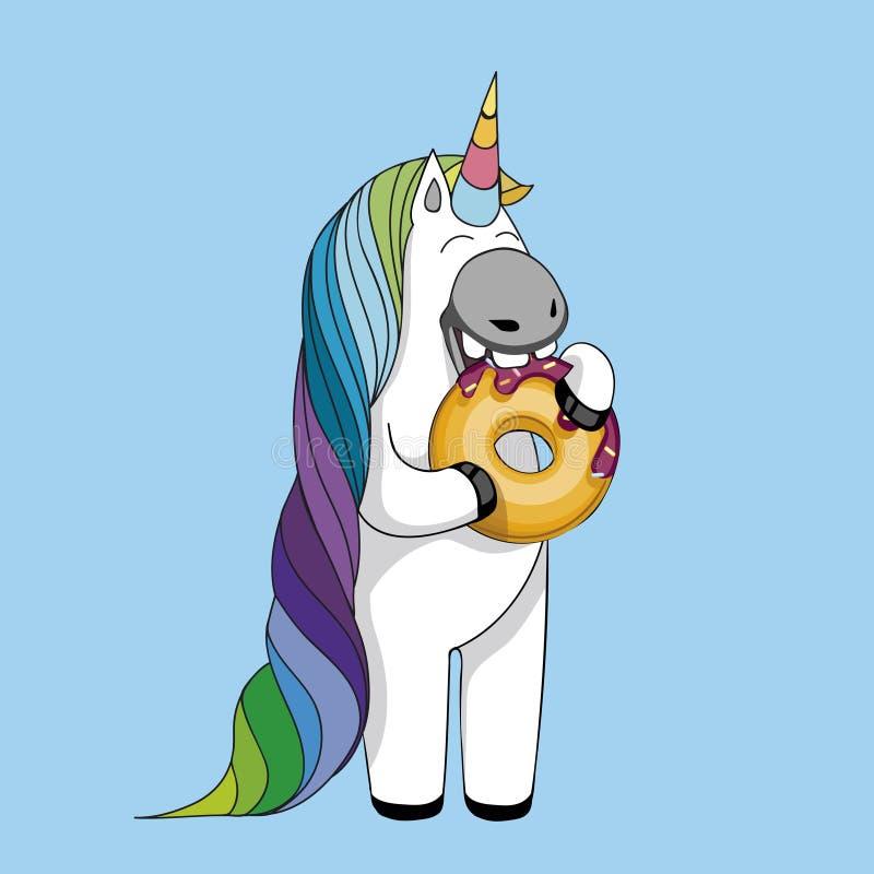 Dirigez l'illustration avec la licorne mignonne de bande dessinée mangeant les butées toriques savoureuses Licorne magique mignon illustration libre de droits
