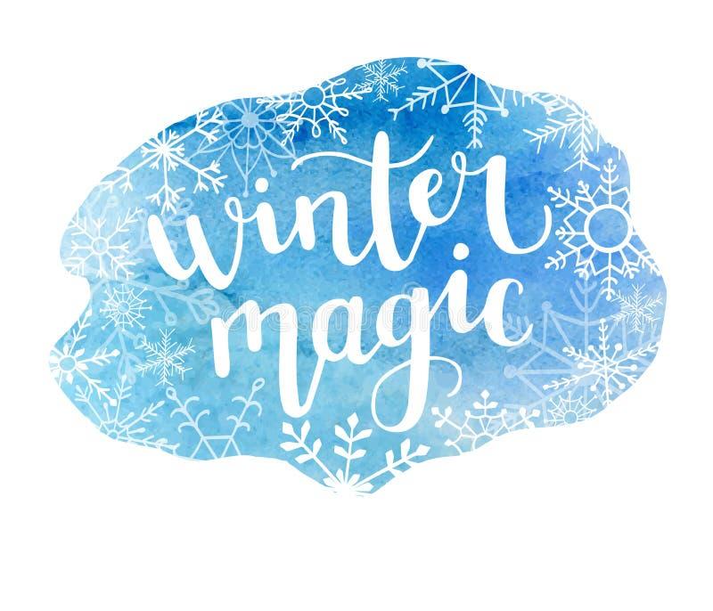 Dirigez l'illustration avec la magie d'hiver de tache et de lettrage d'aquarelle illustration stock