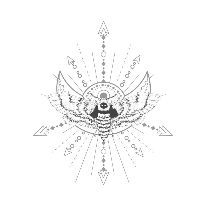 Dirigez l'illustration avec la mite tirée par la main de tête morte et le symbole géométrique sacré sur le fond blanc Signe mysti illustration stock
