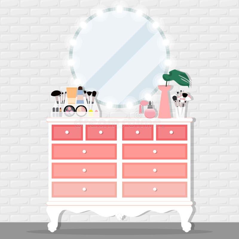 Dirigez l'illustration avec le coffre du produit de tiroirs, de chaise, de miroir et de cosmétiques illustration stock