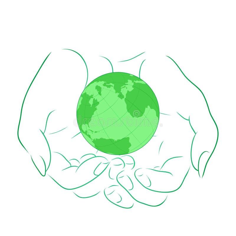 Dirigez l'illustration avec le contour des mains femelles avec la planète illustration stock