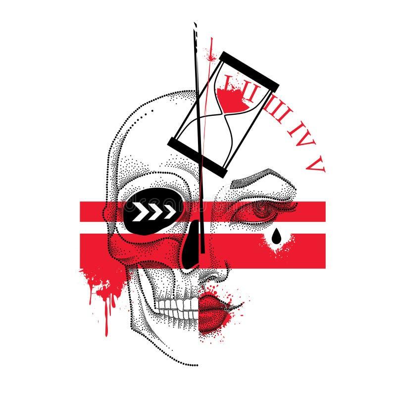 Dirigez l'illustration avec le demi visage et crâne pointillé de femme, les lignes abstraites, le sablier et les taches en rouge  illustration libre de droits
