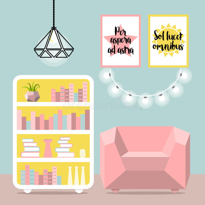 Dirigez l'illustration avec le fauteuil, l'appareil d'éclairage, la lampe et la commode illustration stock