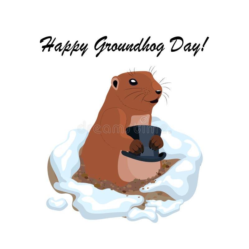 Dirigez l'illustration avec le groundhog mignon tenant le chapeau noir hors d'un trou illustration stock