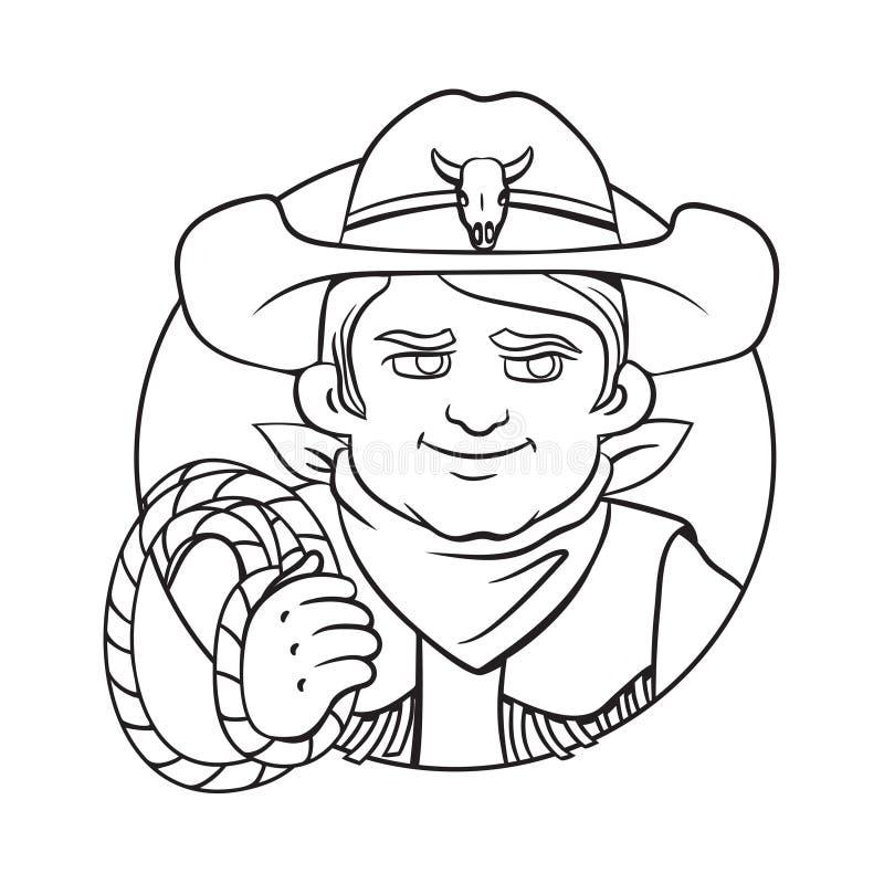 Dirigez l'illustration avec le jeune cowboy dans le chapeau et le lasso dans sa main illustration stock