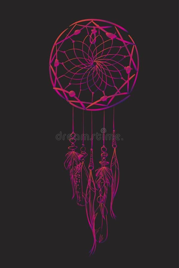 Dirigez l'illustration avec le receveur rêveur rose sur un fond noir Articles ethniques fleuris, plumes, perles illustration libre de droits