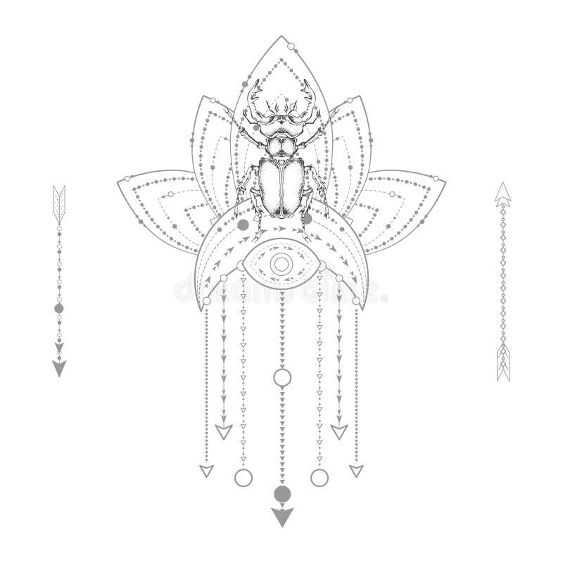Dirigez l'illustration avec le scarabée de mâle tiré par la main et le symbole géométrique sacré sur le fond blanc Signe mystique illustration libre de droits