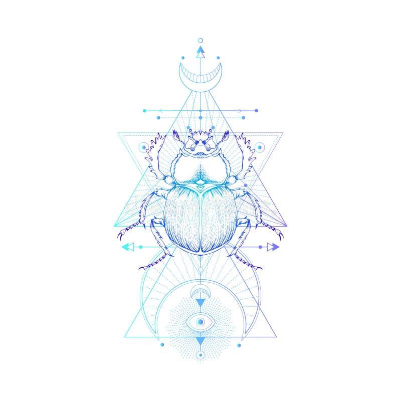Dirigez l'illustration avec le scarabée tiré par la main et le symbole géométrique sacré sur le fond blanc Signe et insecte mysti illustration de vecteur
