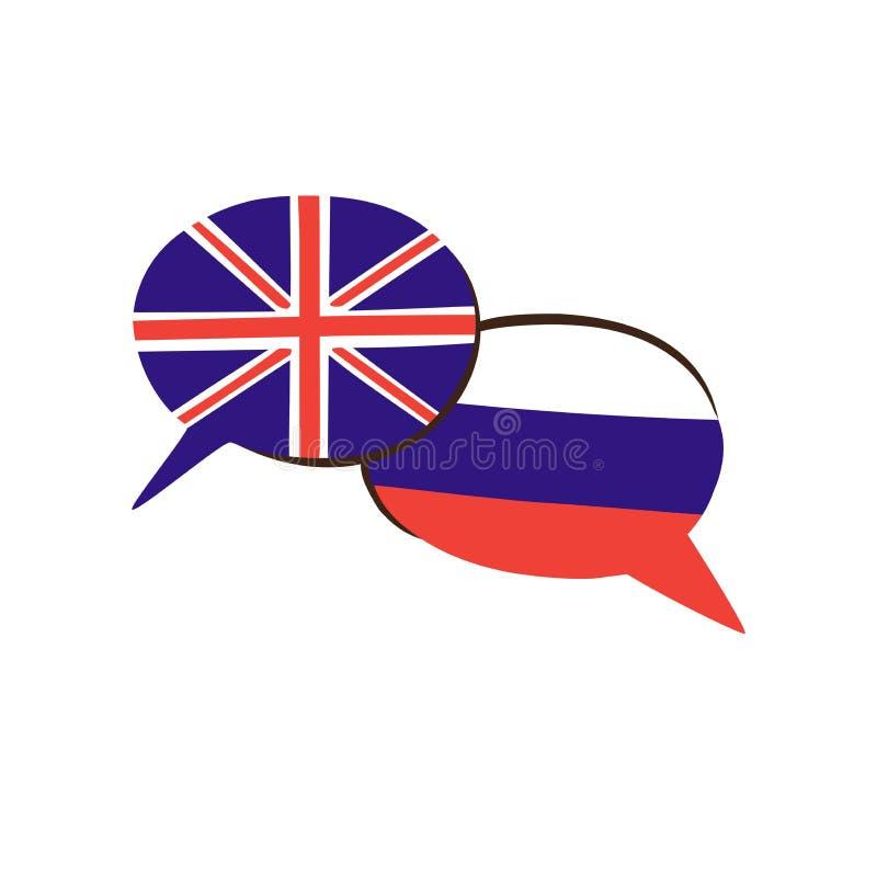 Dirigez l'illustration avec les drapeaux nationaux anglais et russes dans des bulles de la parole illustration de vecteur