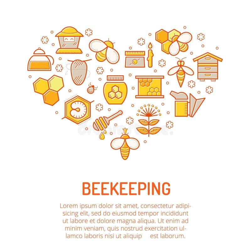 Dirigez l'illustration avec les icônes colorées frottées de miel et de l'apiculture illustration stock
