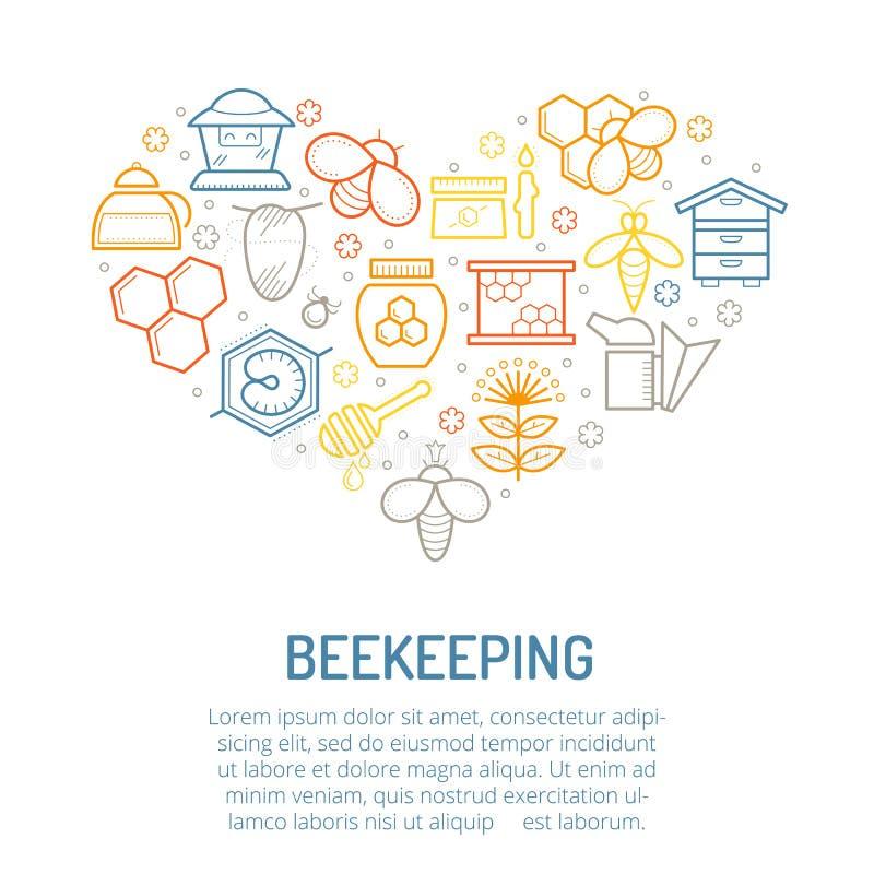Dirigez l'illustration avec les icônes colorées linéaires de miel et de l'apiculture illustration de vecteur