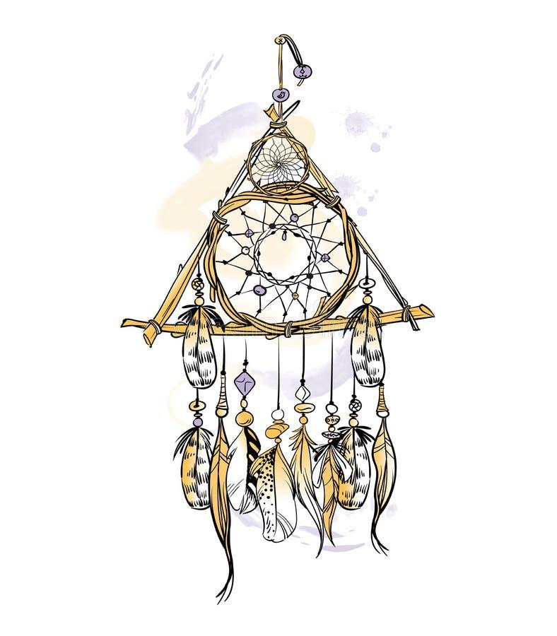 Dirigez l'illustration avec les taches rêveuses tirées par la main de receveur et d'aquarelle Plumes et perles illustration de vecteur