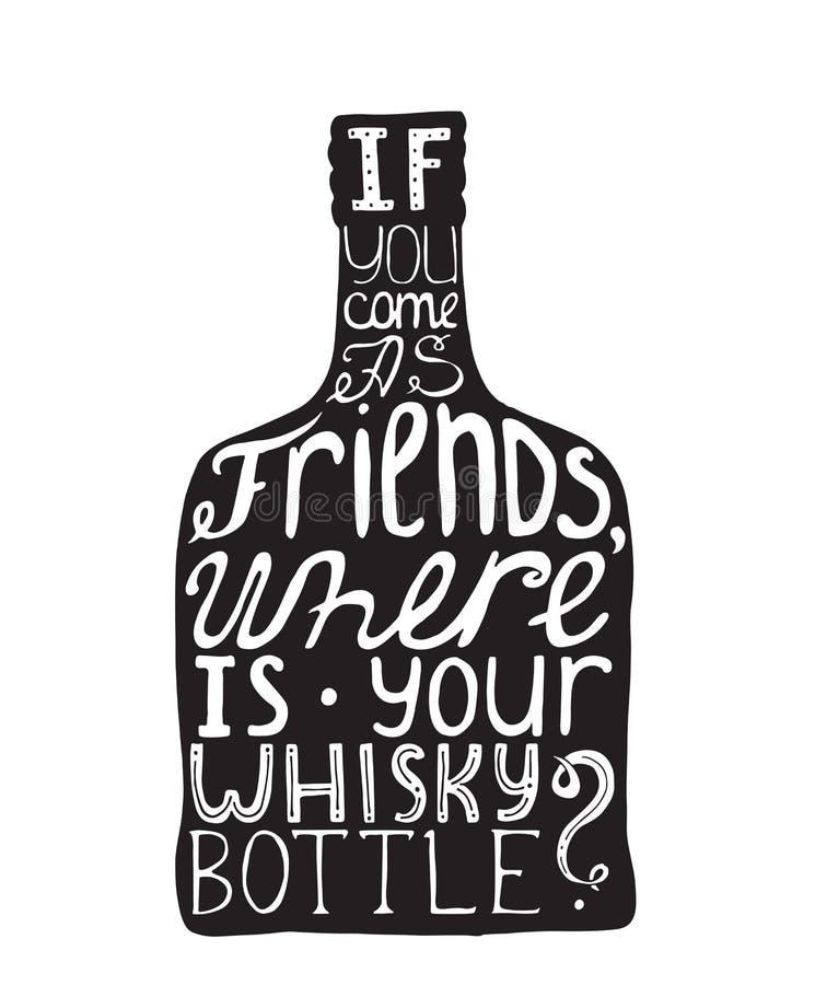 Dirigez l'illustration avec motiver la citation inspirée au sujet de l'amour à l'alcool et au whiskey sur le fond blanc tiré par  illustration libre de droits
