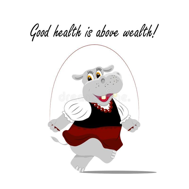 Dirigez l'illustration avec un hippopotame mignon sautant sur la corde La bonne santé est au-dessus du lettrage de richesse illustration de vecteur