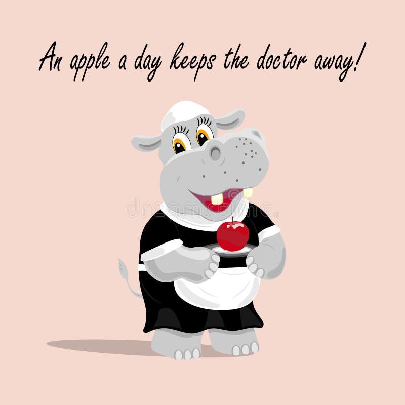 Dirigez l'illustration avec un serveur mignon d'hippopotame tenant une pomme d'un plat Une pomme par jour maintient le docteur pa illustration libre de droits