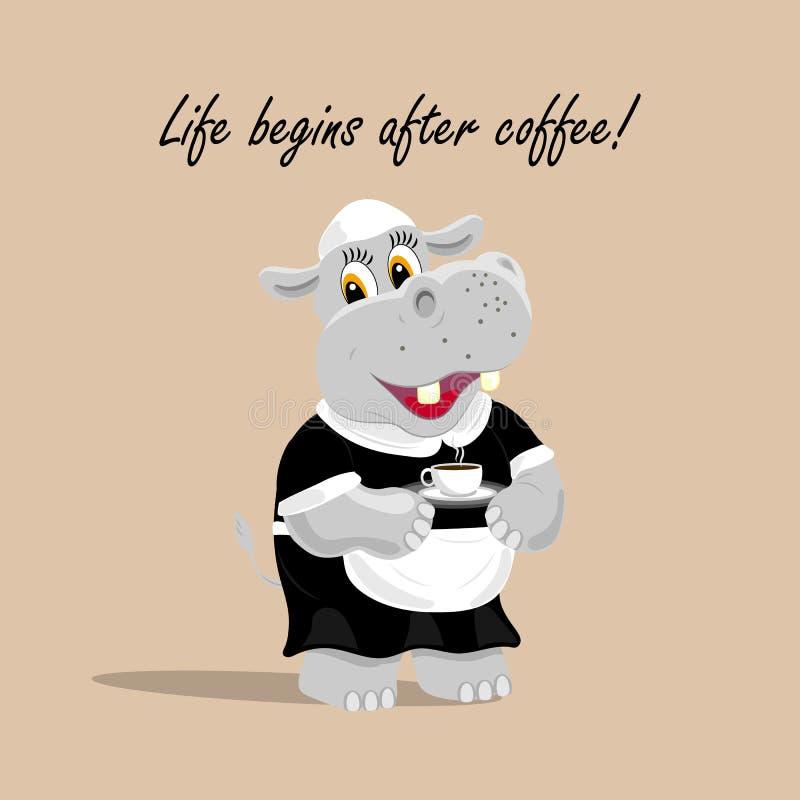 Dirigez l'illustration avec un serveur mignon d'hippopotame tenant une tasse de café La vie commence après le lettrage de café illustration stock