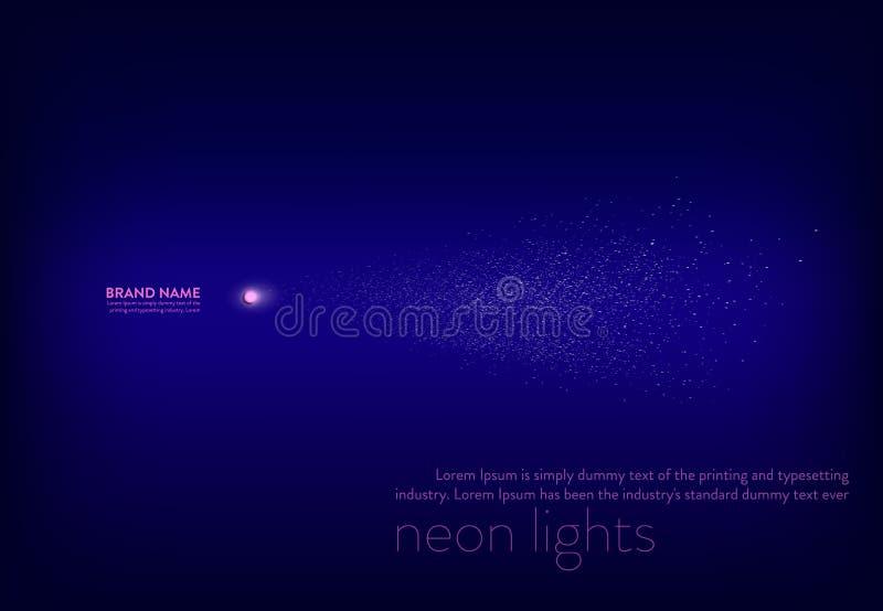 Dirigez l'illustration, bannière pourpre de résumé avec le projecteur au néon, lampe-torche, étincelles de blanc de faisceau lumi illustration de vecteur