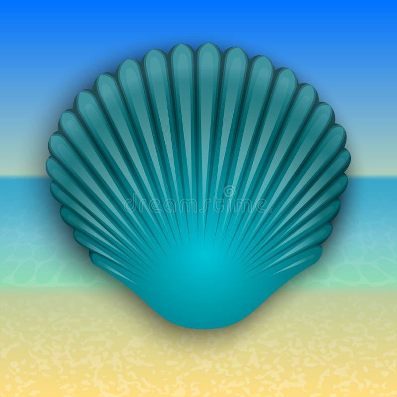 Dirigez l'illustration bleue de coquille sur la mer d'été illustration stock