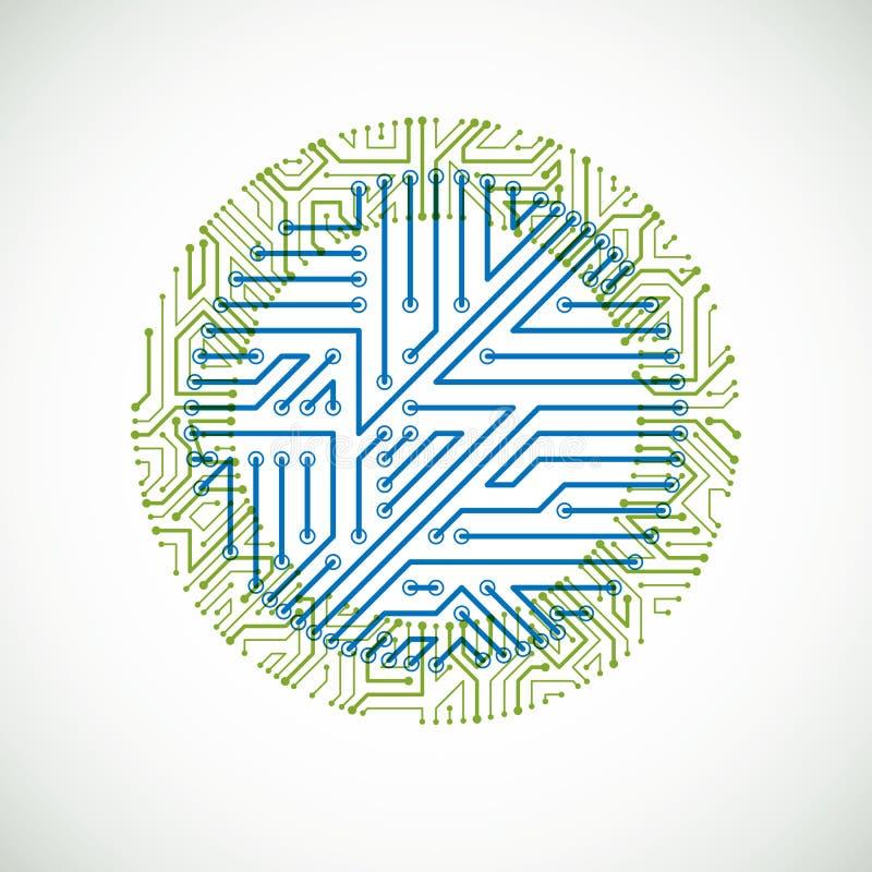 Dirigez l'illustration colorée abstraite de technologie avec la carte verte et bleue ronde Plan numérique circulaire de pointe de illustration de vecteur
