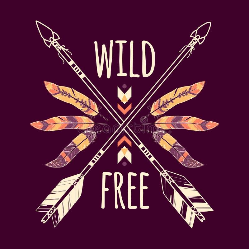 Dirigez l'illustration colorée avec les flèches ethniques croisées, les plumes et l'ornement tribal illustration stock