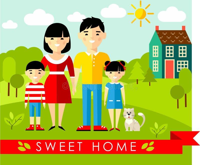 Dirigez l'illustration colorée de la famille et de la maison asiatiques dans le style plat illustration de vecteur