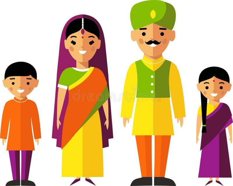 Dirigez l'illustration colorée de la famille indienne dans des vêtements nationaux illustration de vecteur