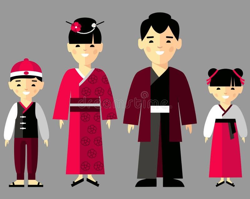 Dirigez l'illustration colorée de la famille japonaise dans des vêtements nationaux illustration libre de droits