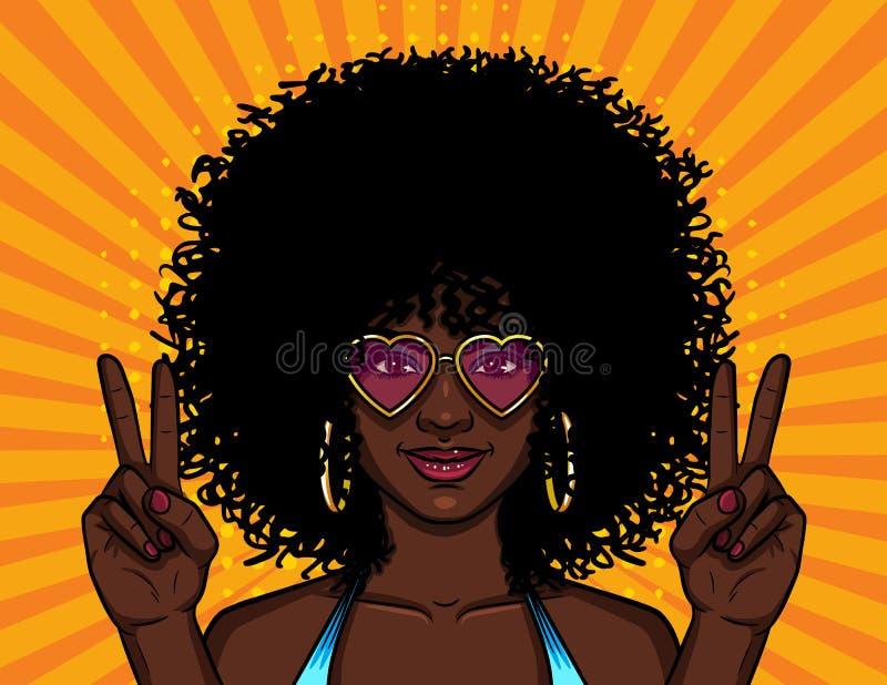 Dirigez l'illustration colorée de la femme hippie d'afro-américain dans des lunettes de soleil roses au-dessus du fond jaune tram illustration stock