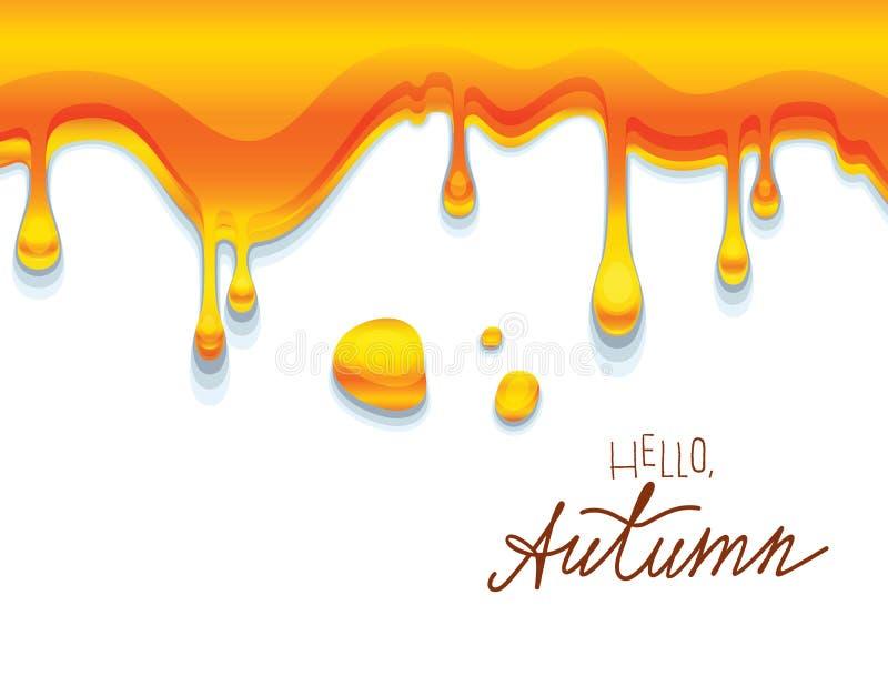 Dirigez l'illustration colorée du miel ambre collant avec bonjour l'inscription d'automne illustration de vecteur