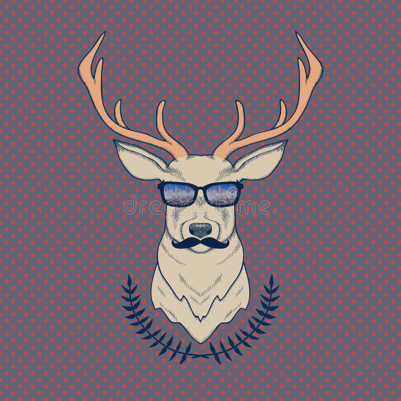 Dirigez l'illustration colorée tirée par la main des cerfs communs de hippie avec des moustaches illustration stock