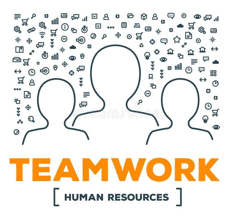 Dirigez l'illustration créative de l'équipe de personnes avec l'ensemble de ligne ico illustration de vecteur
