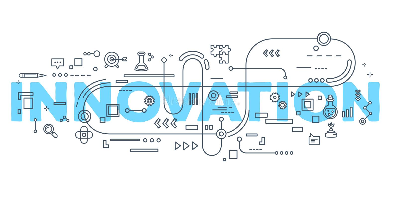Dirigez l'illustration créative du typogr de lettrage de mot d'innovation illustration stock