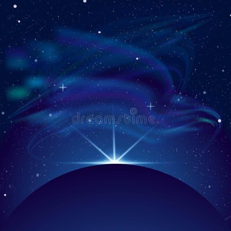 Dirigez l'illustration d'éclipse, planète dans l'espace dans les rayons bleus du fond de vecteur de lumière L'espace avec le sort illustration stock